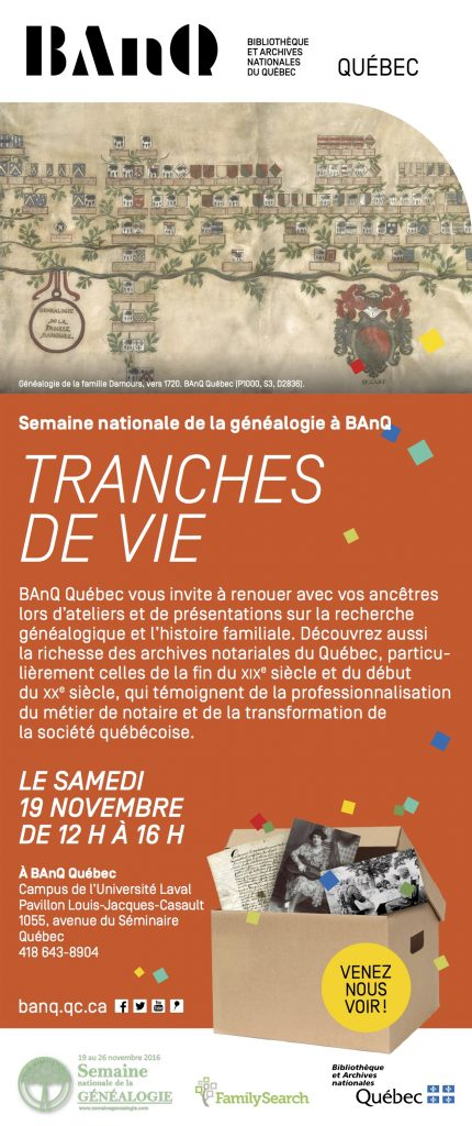 Promo BAnQ Semaine généalogie