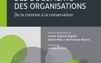 Réédition du livre Typologie des documents des organisations: de la création à la conservation