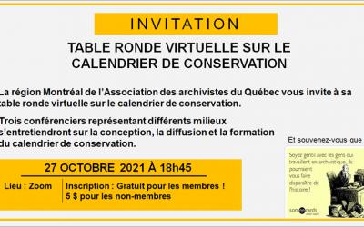 Table-ronde virtuelle sur le calendrier de conservation | 27 octobre 2021
